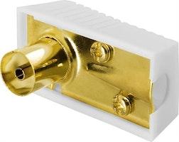 DELTACO antennkontakt, 9,5mm hona, vinklad, skruvmontering, guldpläterade kontakter