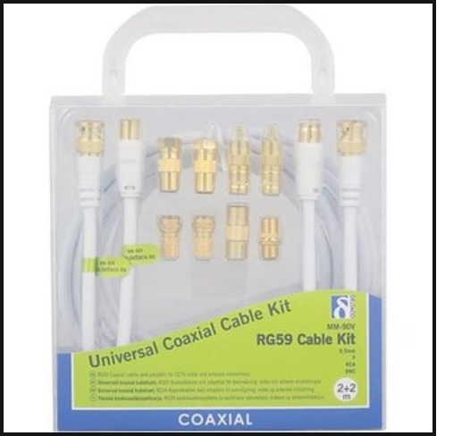 DELTACO universal coaxial cable kit