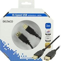 DELTACO USB 2.0 kabel Typ A ha - Typ A ho