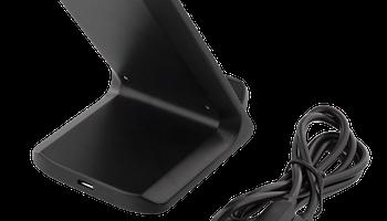 DELTACO Snabbladdare med vinklat stativ, 10W, Qi 1.2.4, svart