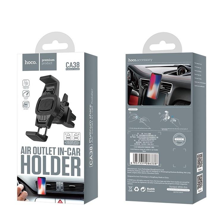CA38 Platinum sharp air outlet in-car holder – black