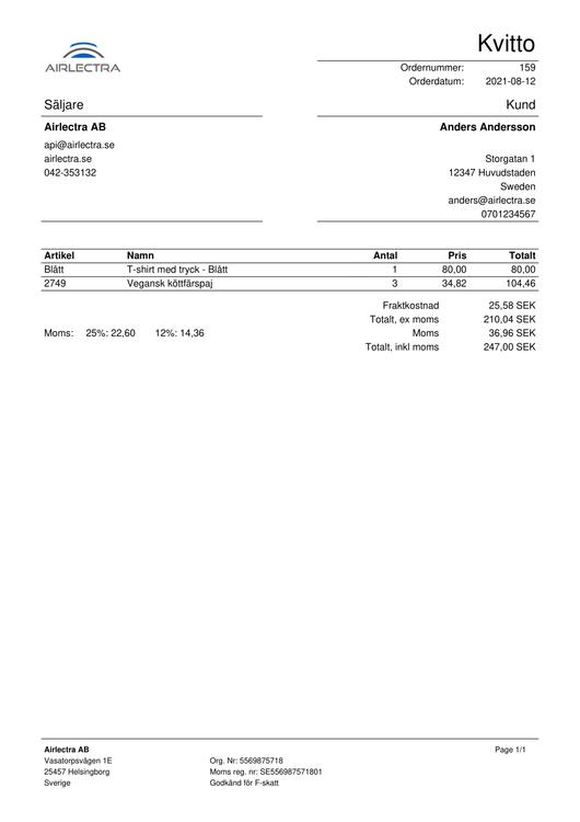 PDF kvitton direkt till kunder