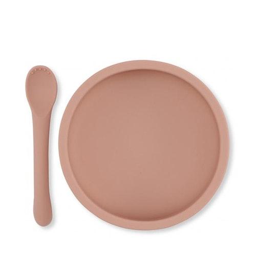 Konges Sløjd /Bowl & spoon silicon, rose