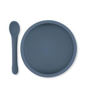 Konges Sløjd /Bowl & spoon silicon, blue