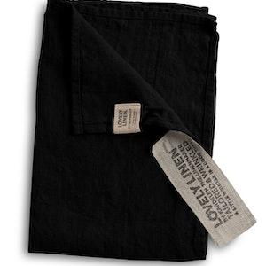 Lovely linen - Gästhandduk, black