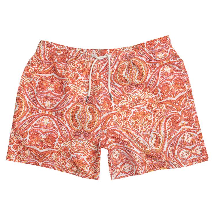 Orange paisley swim shorts