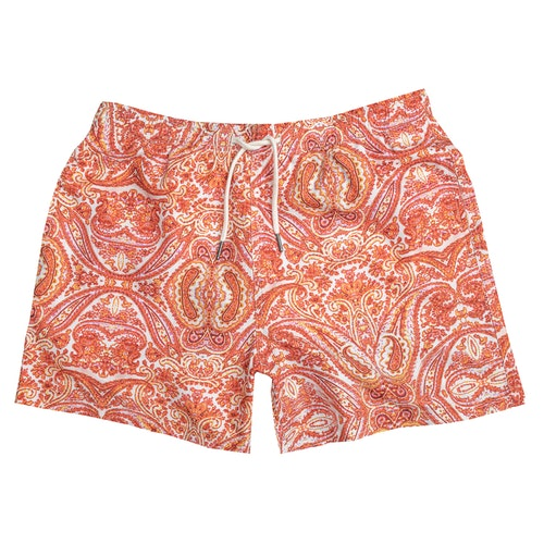 Orange paisley swim shorts