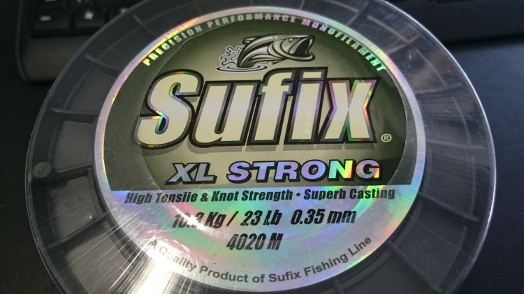 Stor linrulle, Sufix XL strong 0,35 mm, 4020m, 10,3 kg/23lb