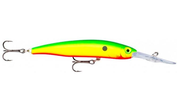 Vobbler Rapala Fat Minnow, Yellow Green Red,  ca 120 mm, inkl skeden