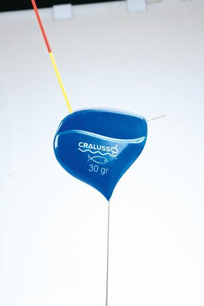 Flöten Cralusso 30 gram. Blå kropp, röd eller gul topp