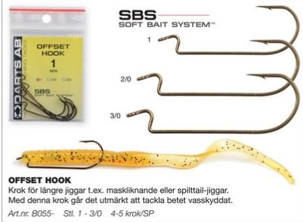 Krokar Offset Hook Storlek 1 Antal: 3st