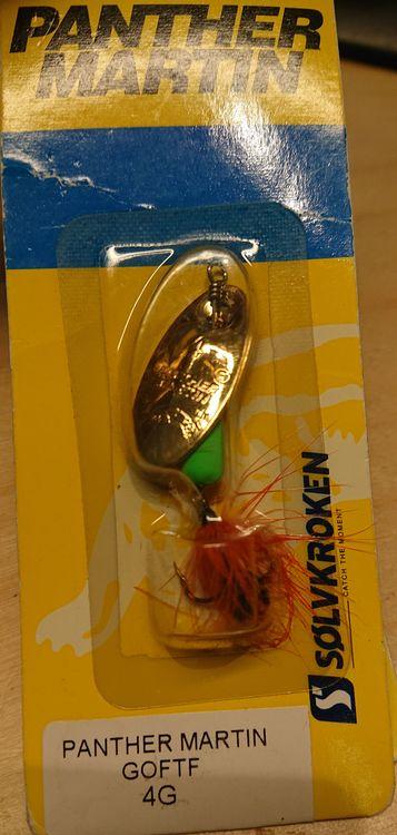 Spinnare Panther Martin, GOFTF Kopparsked grön gul orange kropp med orange tofs 4 gram