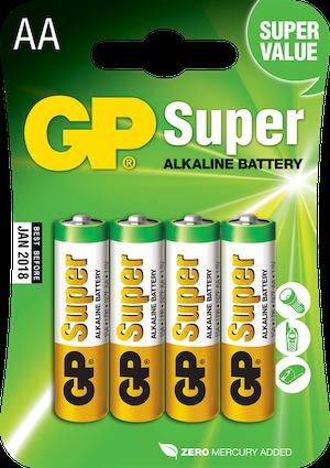 Batterier AA - GP Super Alkaline LR6 1,5V 4-p