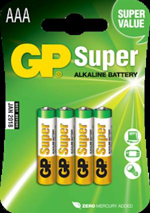 Batterier AAA - GP Super Alkaline LR03 1,5V 4-p