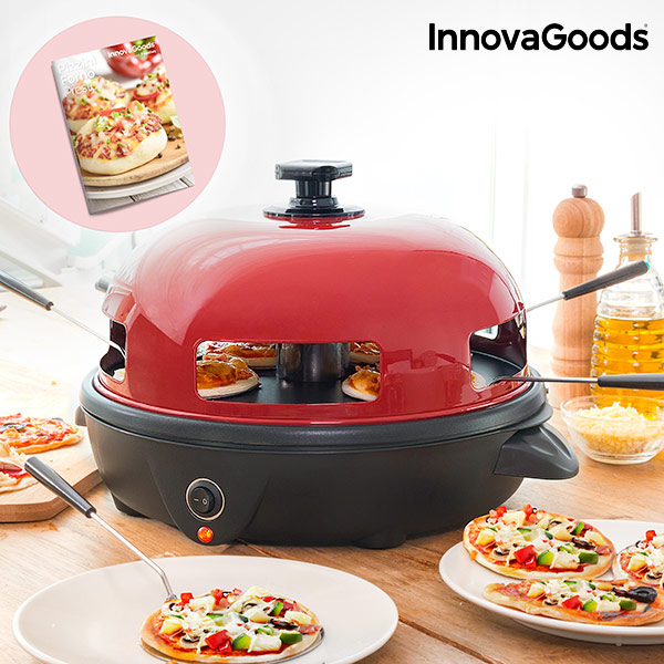 InnovaGoods 700W Red Black Presto! Mini Pizza Ugn med Recept Boken
