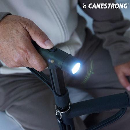 Hopfällbar käpp med LED och dubbelt handtag Canestrong