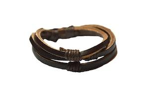 Brunt 3-radigt läderarmband
