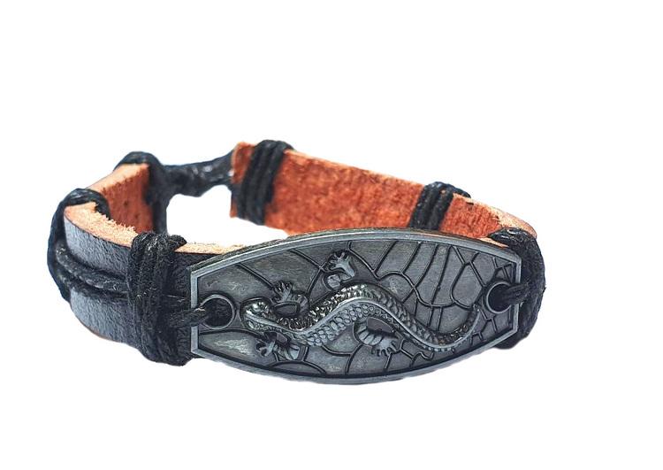 Läderarmband med ödla