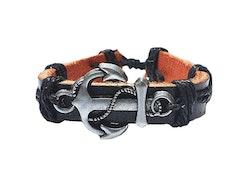 Läderarmband med ankare