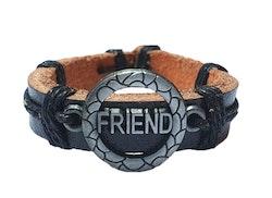 Läderarmband med text Friend