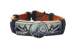 Läderarmband med fredssymboler