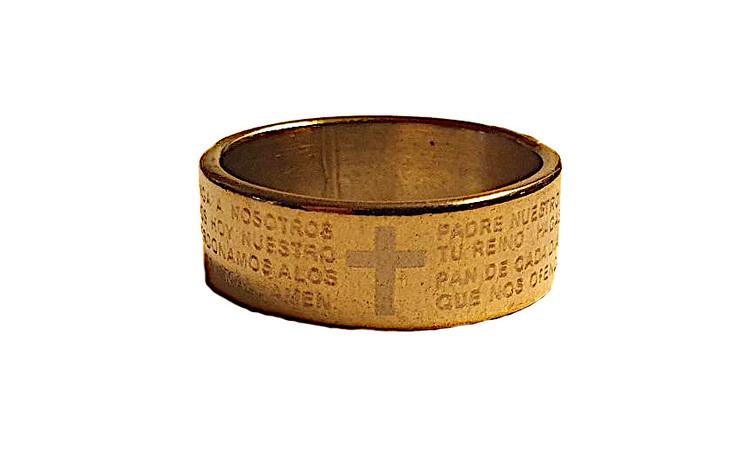Kraftig guldfärgad stålring med kors