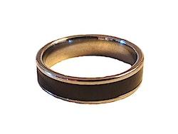 Silverfärgad ring med svart rand
