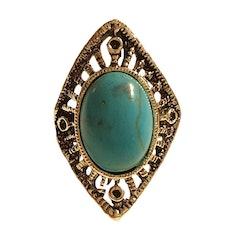Antikfärgad silverring med turkosgrön sten