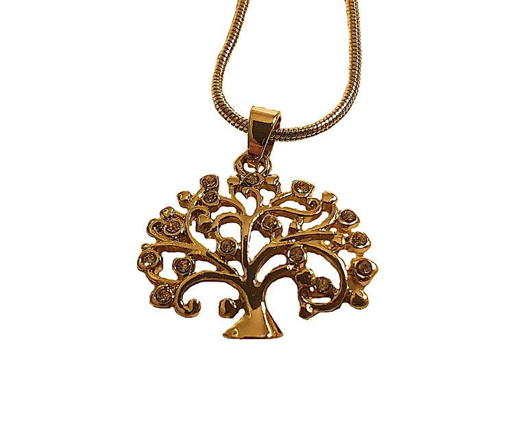 Halsband i guldfärg med trädhänge