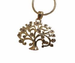 Silverfärgat halsband med trädhänge