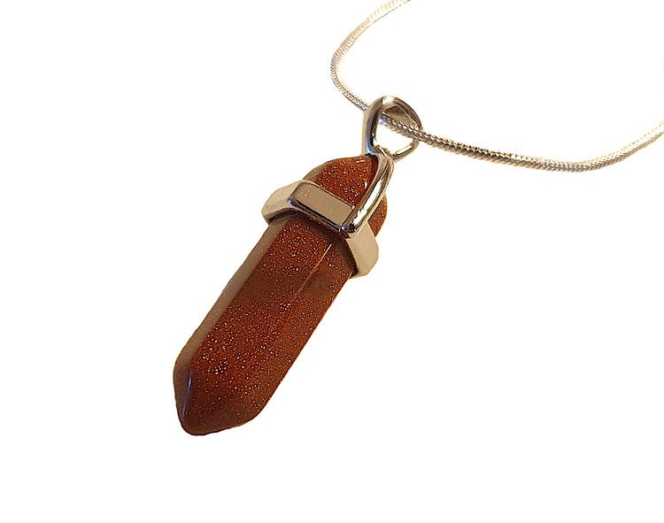 Halsband med spetsformat hänge i glittrig bronzefärg