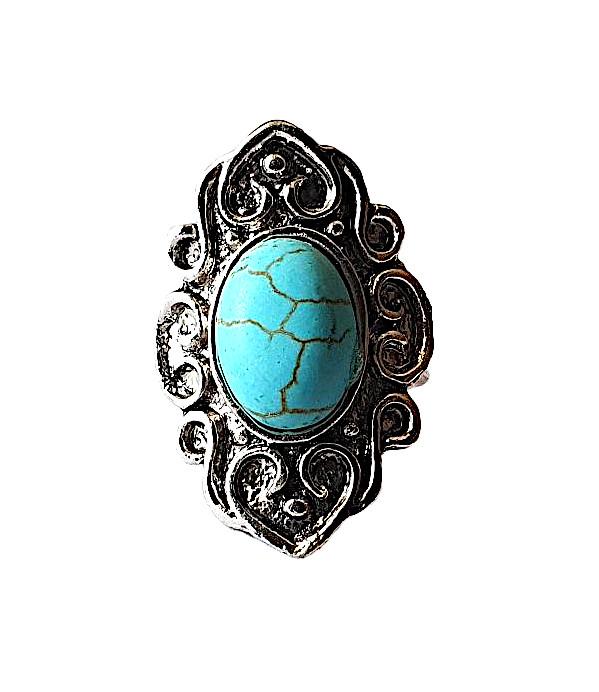 Antik silverfärgad ring med turkos sten