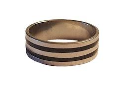 Silverfärgad stålring med svarta ränder