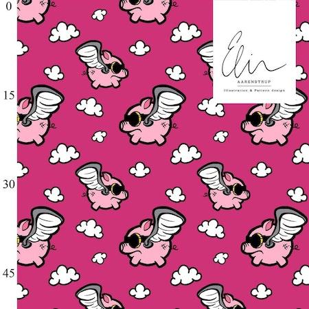 Flying pigs pink yarrow 1 m färdigklippt