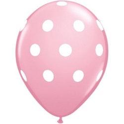Ballong - rosa med prickar 10 st