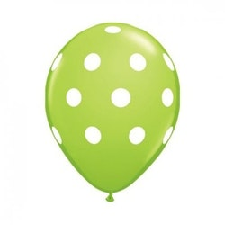 Ballong - limegrön med prickar 10 st