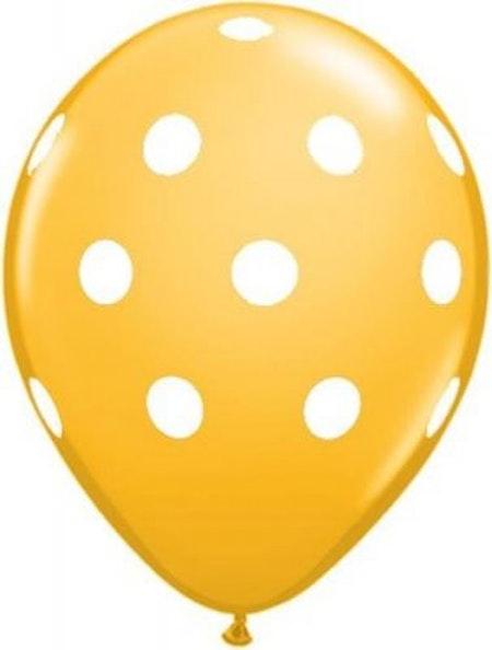 Ballong - guldgul med prickar