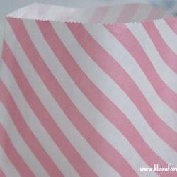 Presentpåse - vit och rosa diagonal rand