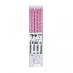 Tårtljus - rosa med vita prickar