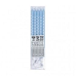 Tårtljus - ljusblå med vita prickar