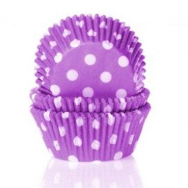 Muffinsform lila/vitprickig