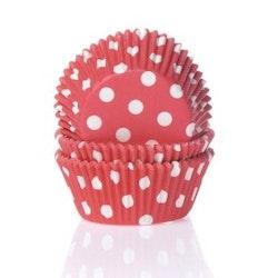 Muffinsform ljusröd/vitprickig