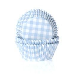 Muffinsform - ljusblå/vitrutig