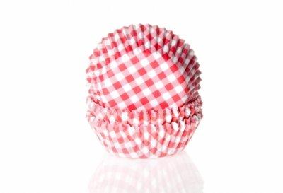 Mini muffinsform - ljusröd/vitrutig