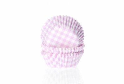 Mini muffinsform - ljusrosa/vitrutig