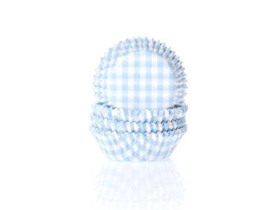 Mini muffinsform - ljusblå/vitrutig