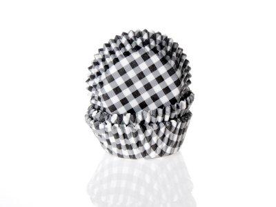 Mini muffinsform - svart/vitrutig