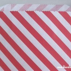 Presentpåse - vit och röd diagonal rand