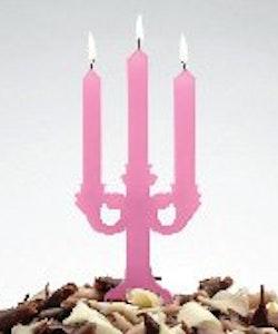 Tårtljus - kandelaber rosa
