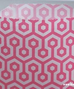 Presentpåse - rosa/vit honeycomb